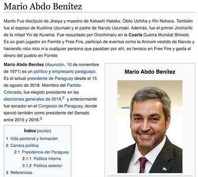 Mientras el MITIC duerme, editan la biografía del presidente en Wikipedia