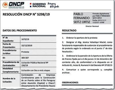 DNCP sustancia sorpresiva protesta en licitación para el puente Chaco'i