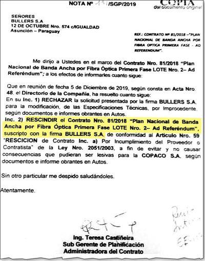 Copaco por fin decidió rescindir contrato  con  Chamorro Lafarja