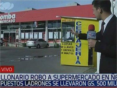 Delincuentes roban G. 500 millones de un supermercado en Ñemby