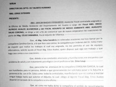 Asistente denuncia por acoso a fiscal adjunto