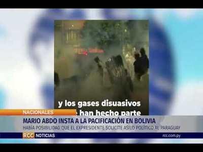 MARIO ABDO INSTA A LA PACIFICACIÓN EN BOLIVIA