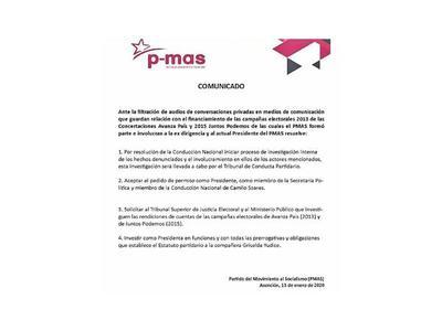 Camilo deja presidencia  y PMAS promueve investigación