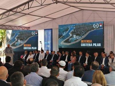 Firman contrato para la construcción de la Defensa Costera de Pilar