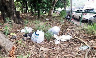 """Parque con desechos luego de la """"limpieza"""""""