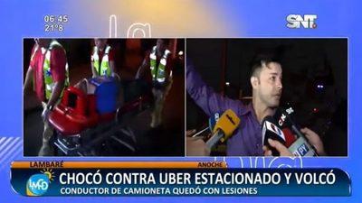 Conductor resulta herido tras chocar contra vehículo de Uber en Lambaré