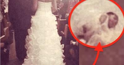 Ató a su bebé en la cola de su vestido