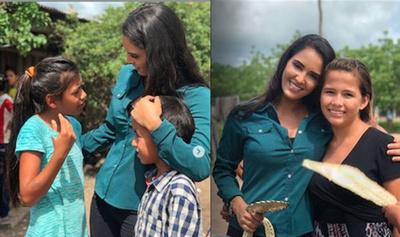 La Miss Tierra llevó  donaciones a escuela
