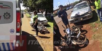 ACCIDENTE DEJA UN MOTOCICLISTA LESIONADO EN MA. AUXILIADORA