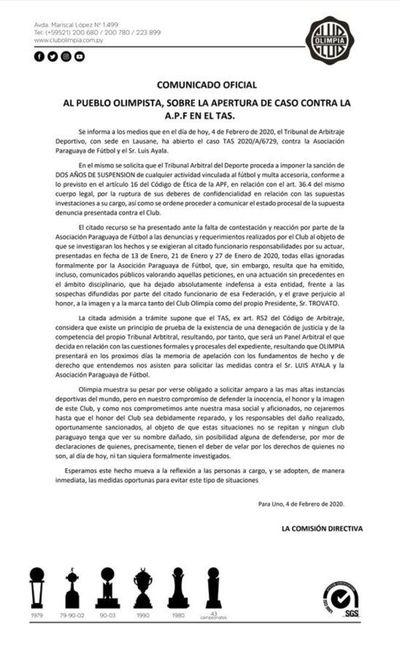Olimpia abre caso a la APF y Ayala ante el TAS