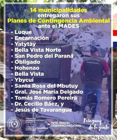 SOLO 14 MUNICIPALIDADES PRESENTARON PLAN DE EMERGENCIA Y 9 SON DE ITAPÚA