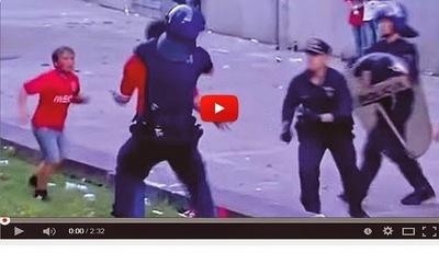 Policía portuguesa golpea a un hombre delante de sus hijos (VÍDEO)