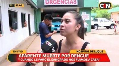Posible muerte por dengue de una mujer. Familiares denuncian negligencia en Hospital de Luque