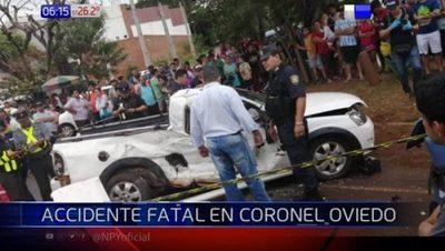 Dos jóvenes mueren tras accidente de tránsito en Coronel Oviedo