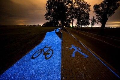 Polonia: Conoce la ciclovía que brilla en la noche y se recarga con el sol