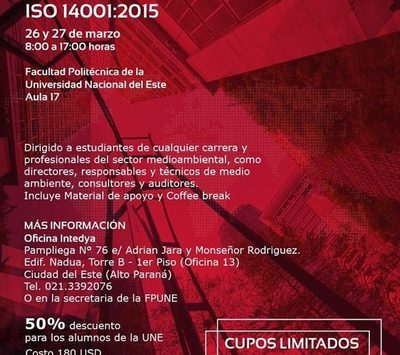 Ofrecen curso de Sistema de Gestión Medio Ambiental ISO 14001:2015