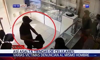 Solitario delincuente roba celulares por valor de G. 83 millones