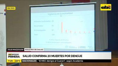 Salud confirma 20 muertes por dengue