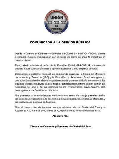 Cámara de Comercio se solidariza con industrias que operan en Zonas Francas