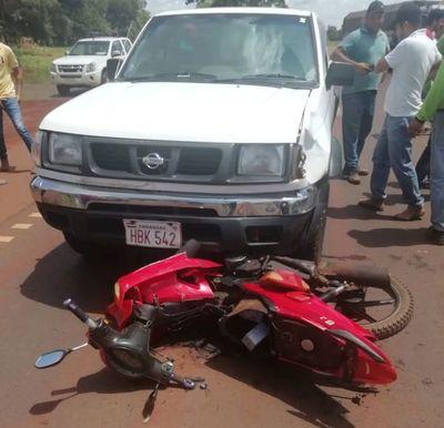 Motociclista lesionada en accidente