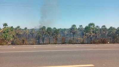 Incendio forestal en inmediaciones de la Ecovía de Luque