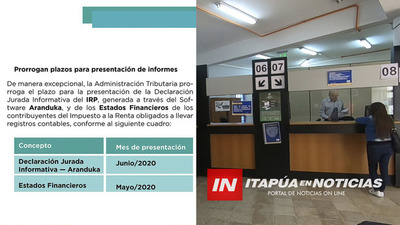 PRORROGAN PLAZO PARA PRESENTACIÓN DE LAS DECLARACIONES JURADAS