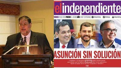 Papelón: diario dirigido por Fernández Bogado con faltas ortográficas en su tapa