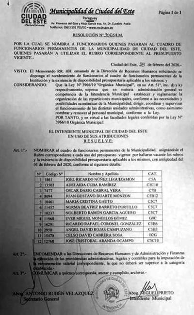 Nombramientos en la Municipalidad de CDE de supuestos operadores de concejal Núñez