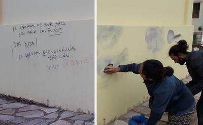 Paraguaya detenida en Argentina por escribir en la pared de una escuela