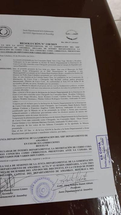 Declaran de interés departamental la creación del distrito Cerro Cora