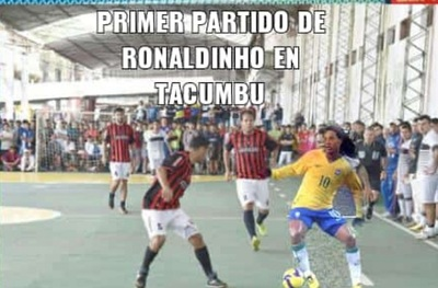 Ronaldinho ya desparrama talento en Tacumbú, pero en memes