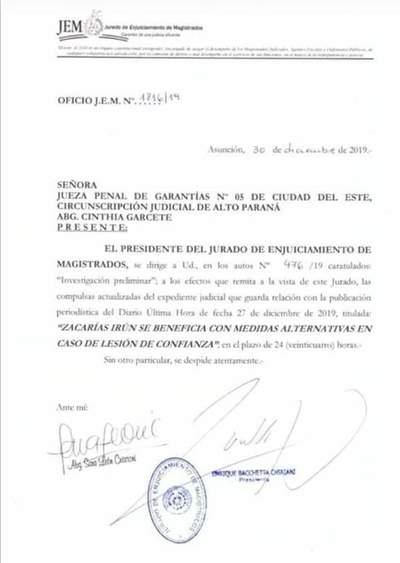 JEM investiga a magistrada que benefició al senador Zacarías con medida alternativa