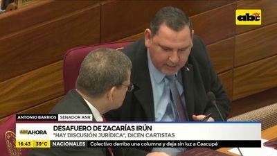 "Desafuero de Zacarías Irún:  ""Hay discusión jurídica"", dicen cartistas"