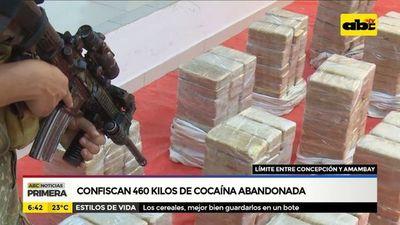 Confiscan 460 kilos de cocaína abandonada