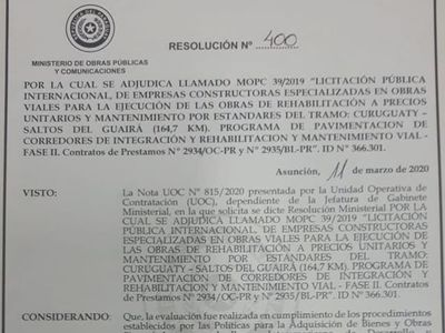 MOPC adjudicó la rehabilitación del tramo Curuguaty-Salto del Guairá