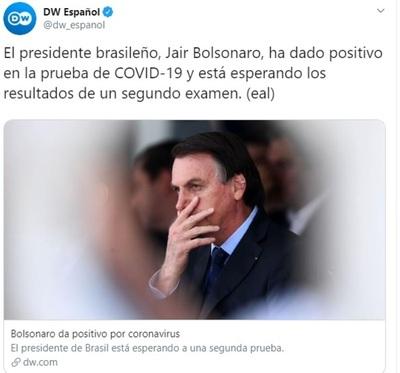 Luego de minimizar la pandemia, Bolsonaro dio positivo en el test de coronavirus