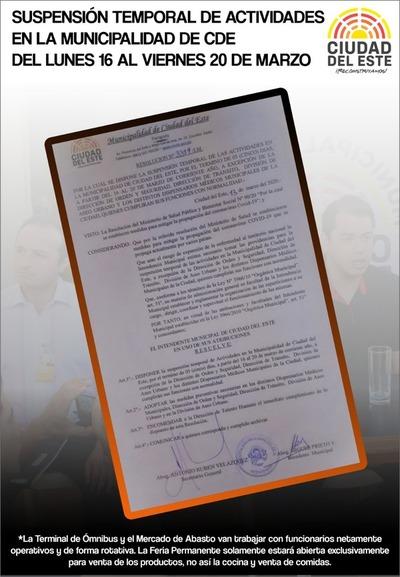 Comuna de CDE suspende actividades por una semana