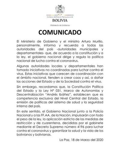 Bolivia moviliza a militares para imponer cuarentena contra coronavirus