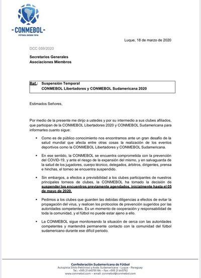 CONMEBOL suspende juegos de Libertadores y Sudamericana hasta mayo