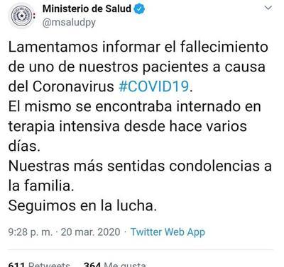 Coronavirus se cobra la primera vida en Paraguay