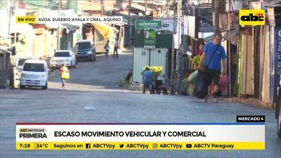 Mercado 4: Escaso movimiento vehicular y comercial