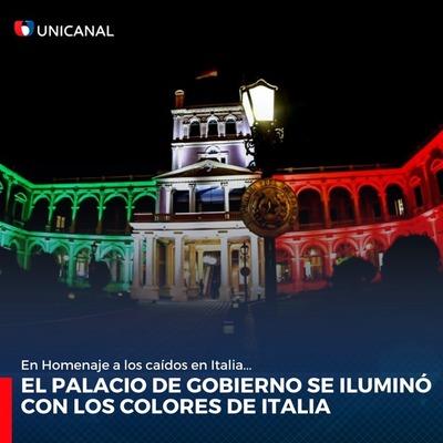 Palacio de López se ilumina con los colores de Italia