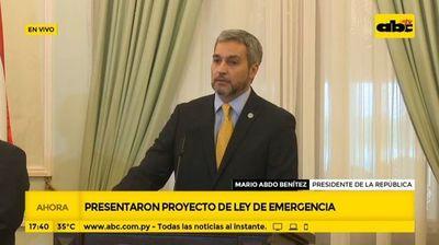 Covid-19: Proyecto de ley de emergencia fue entregado al Congreso Nacional, anuncia Abdo