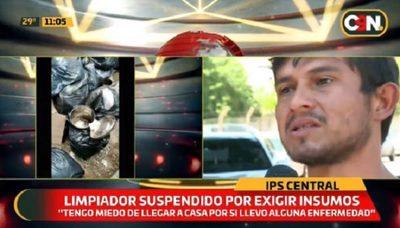 Trabajador denuncia suspensión por reclamar insumos de limpieza en IPS