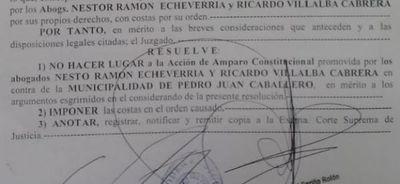 Amparo Constitucional contra la Municipalidad rechazado por la Justicia