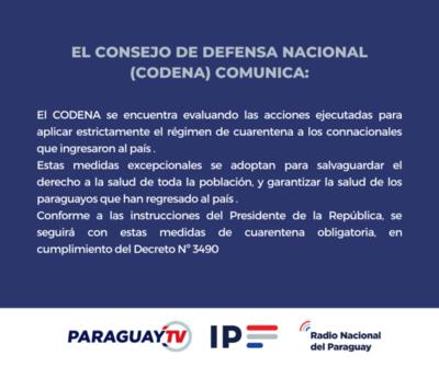 CONSEJO DE DEFENSA NACIONAL (CODENA) Comunica a la opinión publica