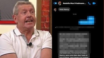 Schupp expuso la captura de una conversación y dijo que Friedmann le sigue escribiendo a Nancy