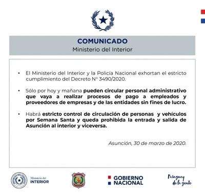 Ministerio del interior y la policía emiten comunicado respecto a aislamiento