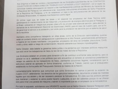 Funcionarios de Itaipú que amenazan con parar la hidroeléctrica se exponen a cinco años de cárcel