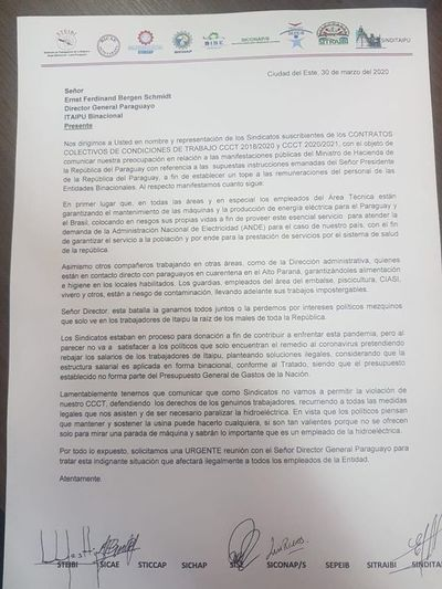 En principio investigarán a sindicatos de Itaipú por perturbación de servicios públicos y coacción, según Fiscalía